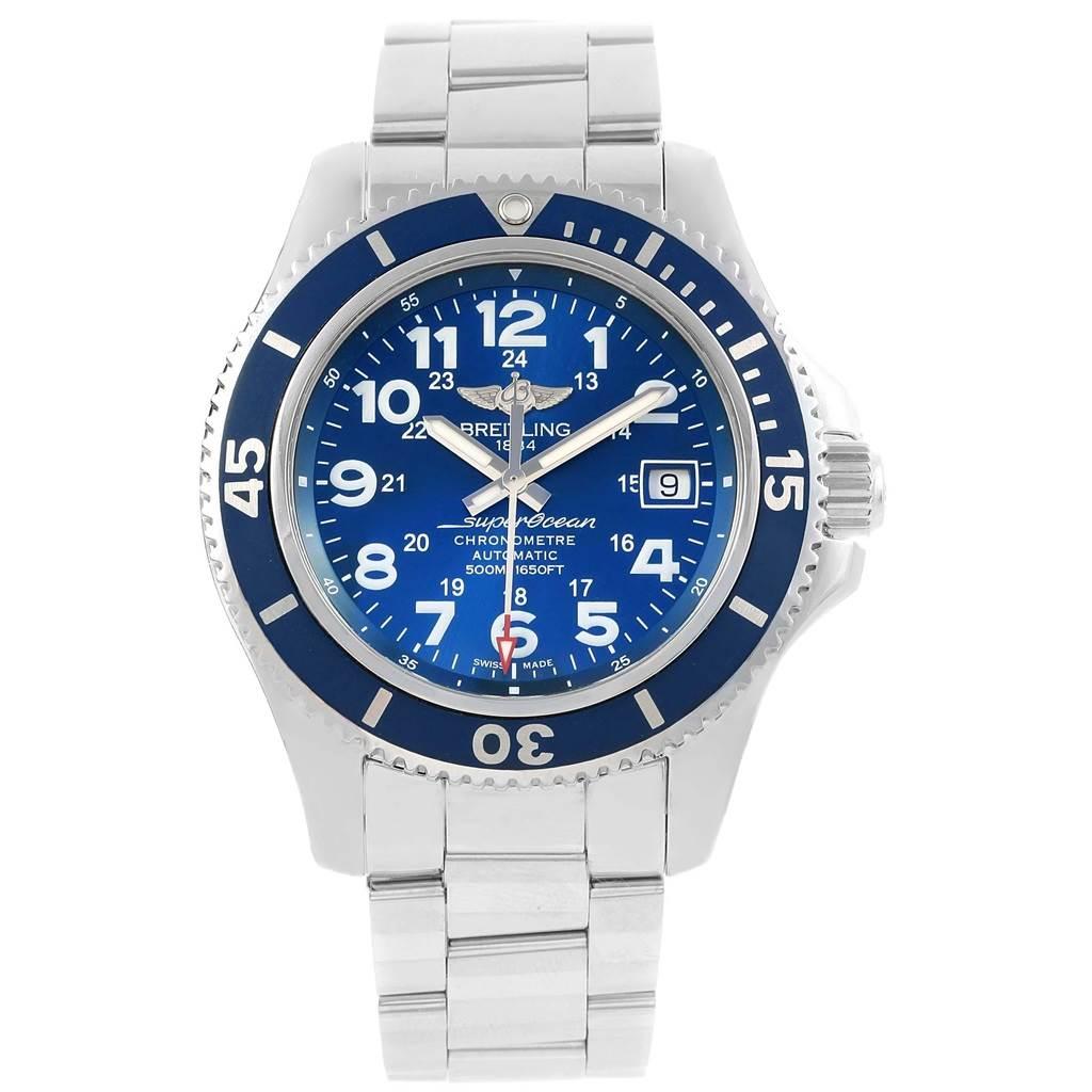 Breitling Superocean II Blue Dial Steel Mens Watch A17365 Box SwissWatchExpo