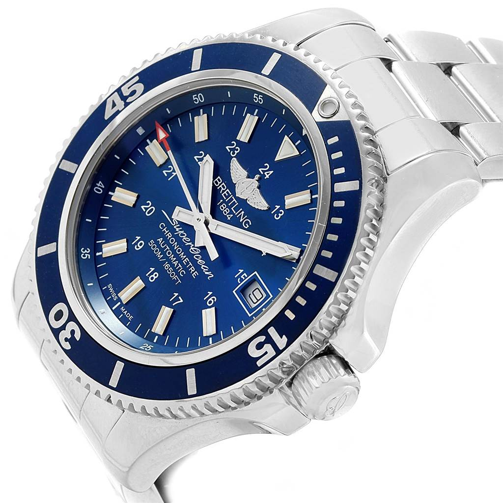 20914 Breitling Superocean II Blue Dial Steel Mens Watch A17365 Box Papers SwissWatchExpo
