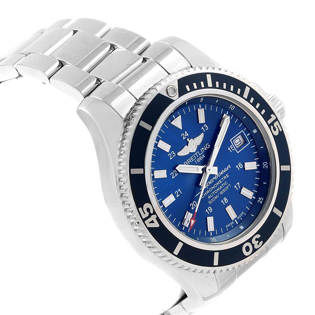 Breitling Superocean II Blue Dial Steel Mens Watch A17365 Box Papers SwissWatchExpo