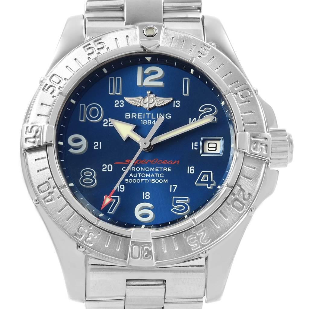 Breitling Superocean Steelfish Blue Dial Mens Watch A17360 SwissWatchExpo