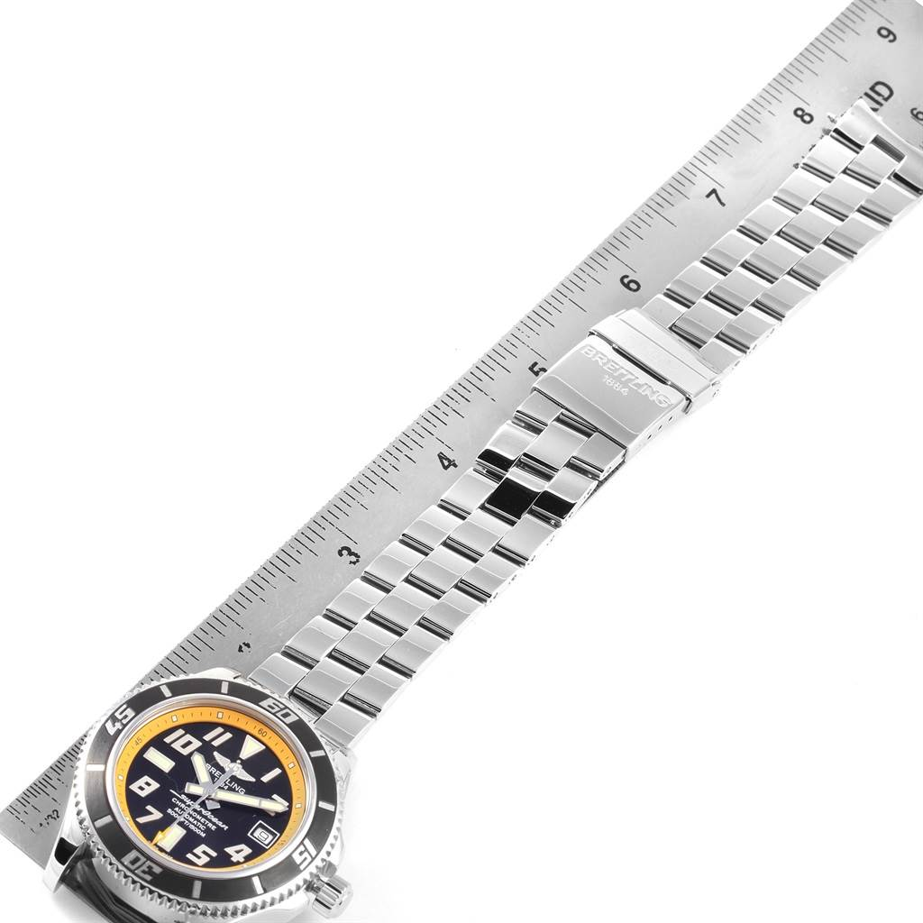 20748 Breitling Superocean 42 Abyss Black Yellow Automatic Mens Watch A17364 SwissWatchExpo