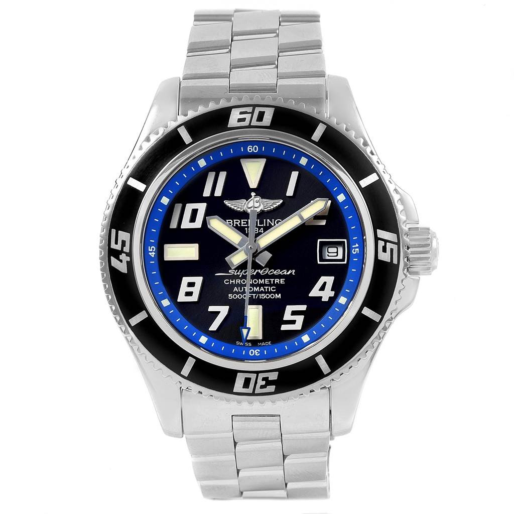 20746 Breitling Superocean 42 Abyss Black Blue Dial Steel Mens Watch A17364  SwissWatchExpo
