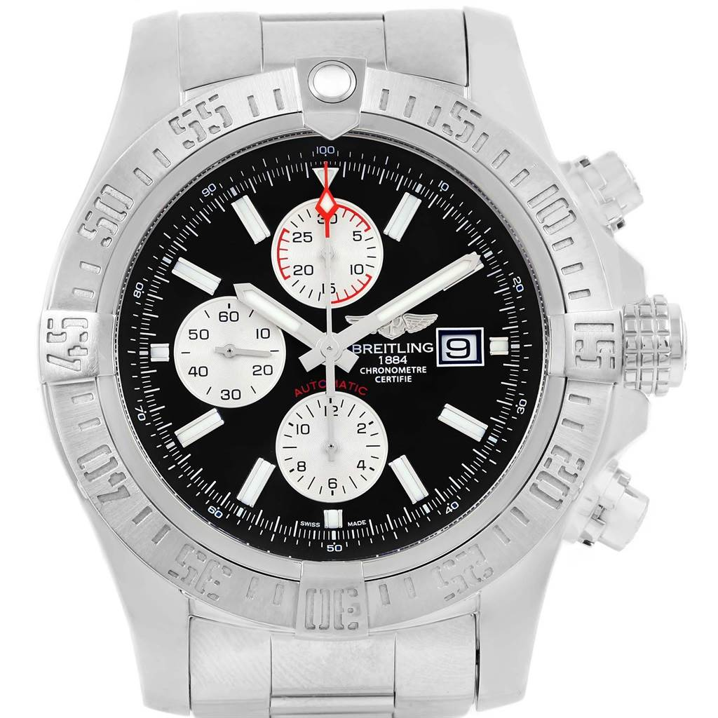 18129 Breitling Aeromarine Super Avenger Black Dial Steel Mens Watch A13371 SwissWatchExpo