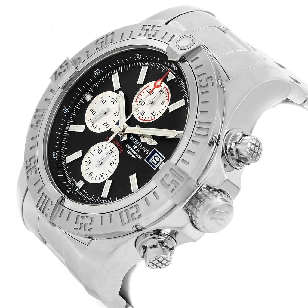 Breitling Aeromarine Super Avenger Black Dial Steel Mens Watch A13371 SwissWatchExpo