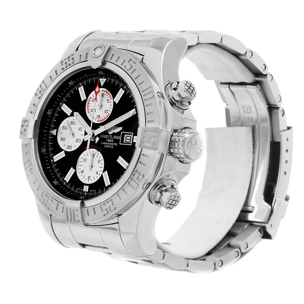 20724 Breitling Aeromarine Super Avenger Black Dial Steel Mens Watch A13371 SwissWatchExpo