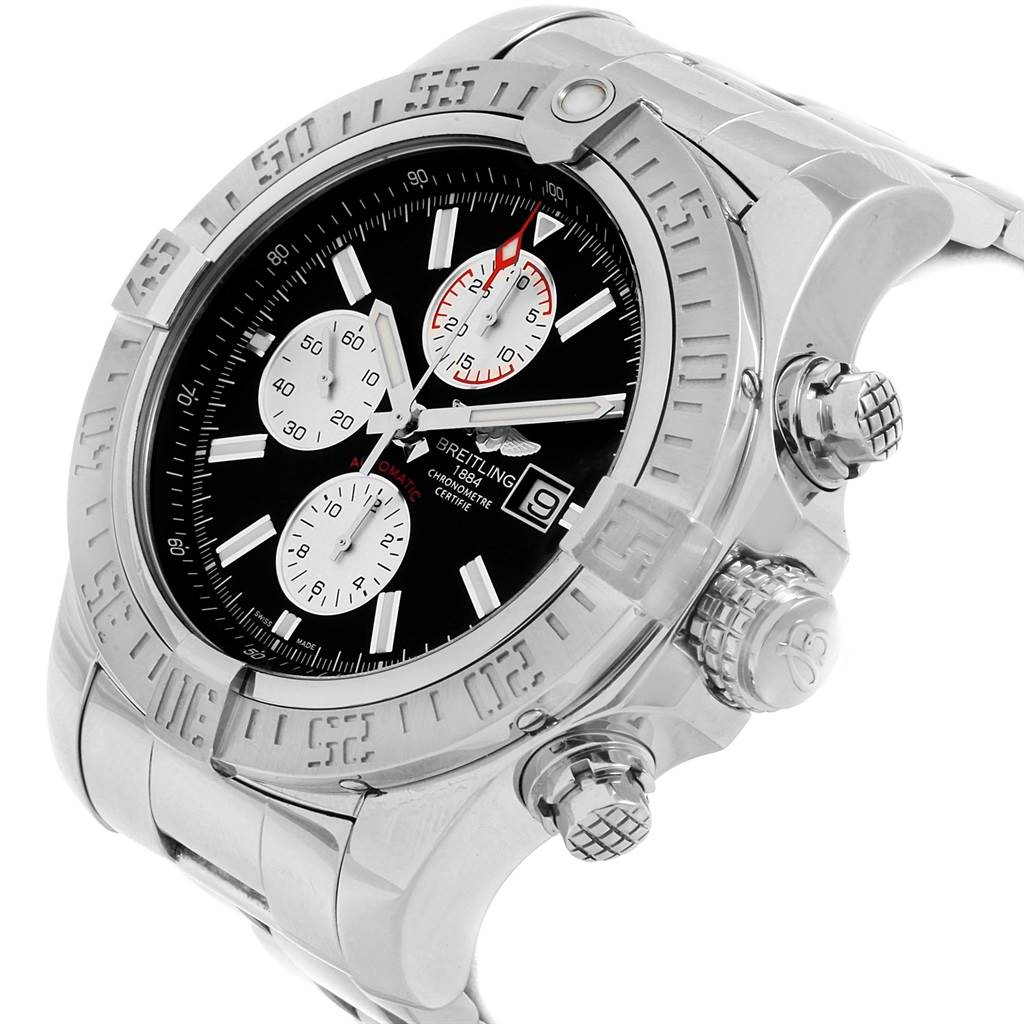 20724 Breitling Aeromarine Super Avenger Black Dial Steel Mens Watch A13371 SwissWatchExpo