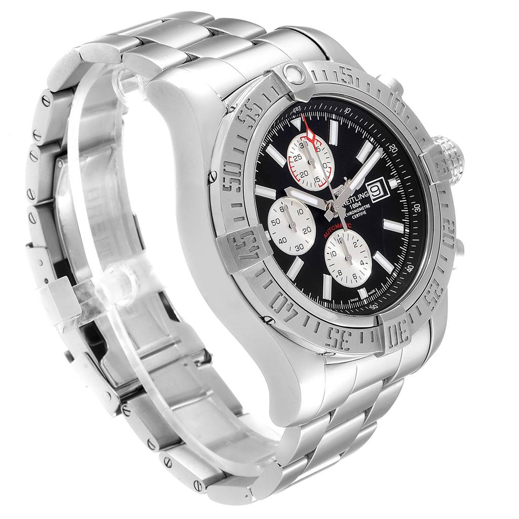 Breitling Aeromarine Super Avenger Black Dial Steel Mens Watch A13371 SwissWatchExpo