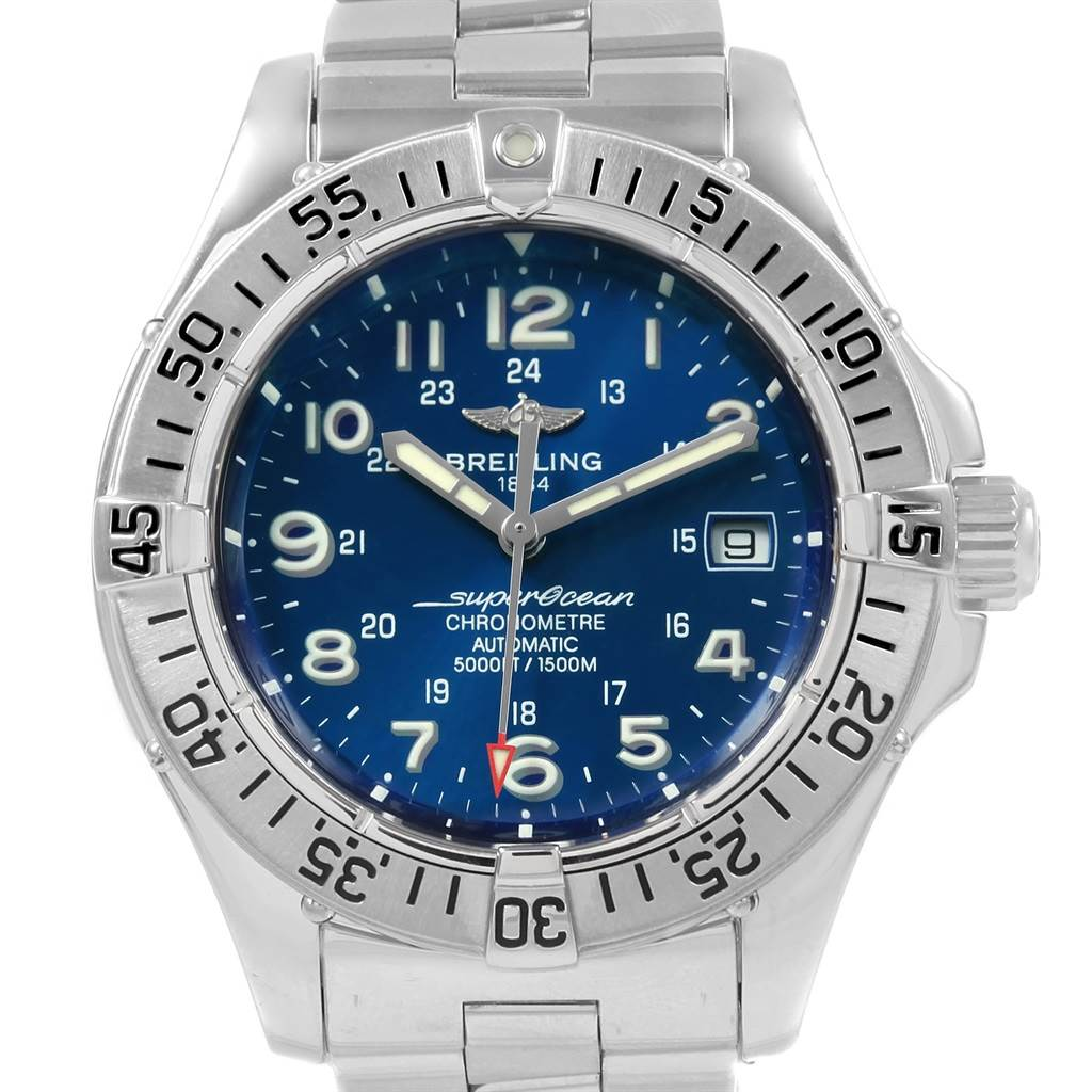20711X Breitling Superocean Steelfish Blue Dial Mens Watch A17360 SwissWatchExpo