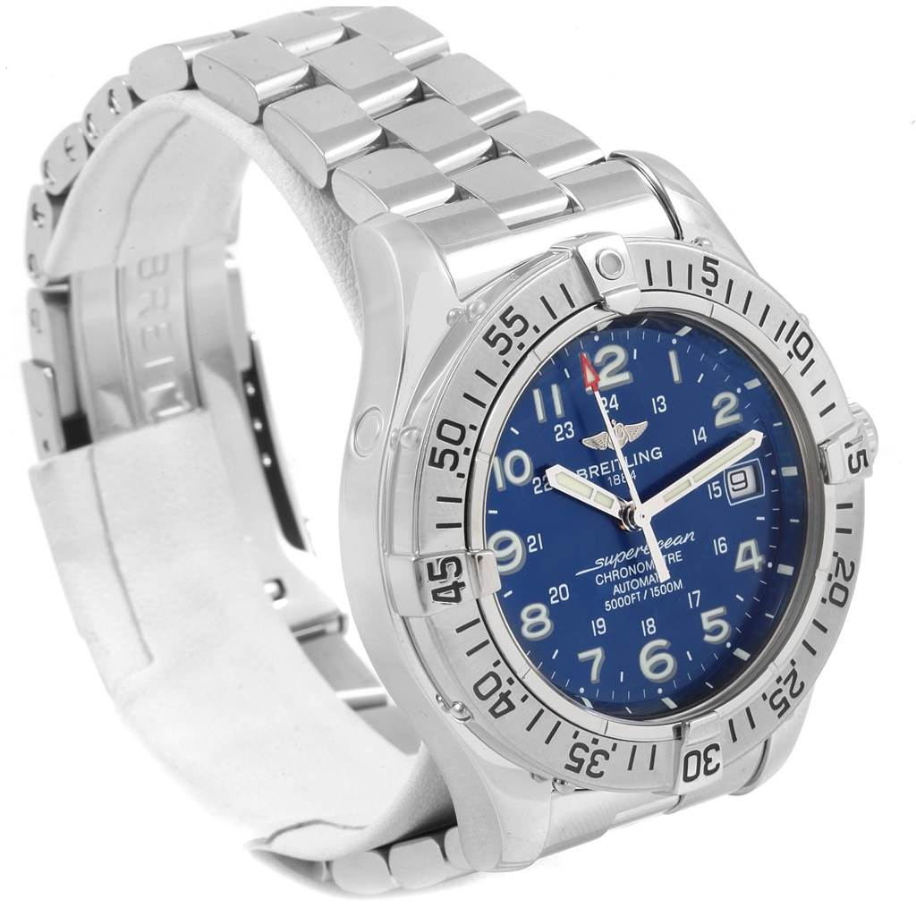 Breitling Superocean Steelfish Blue Dial Mens Watch A17360 SwissWatchExpo