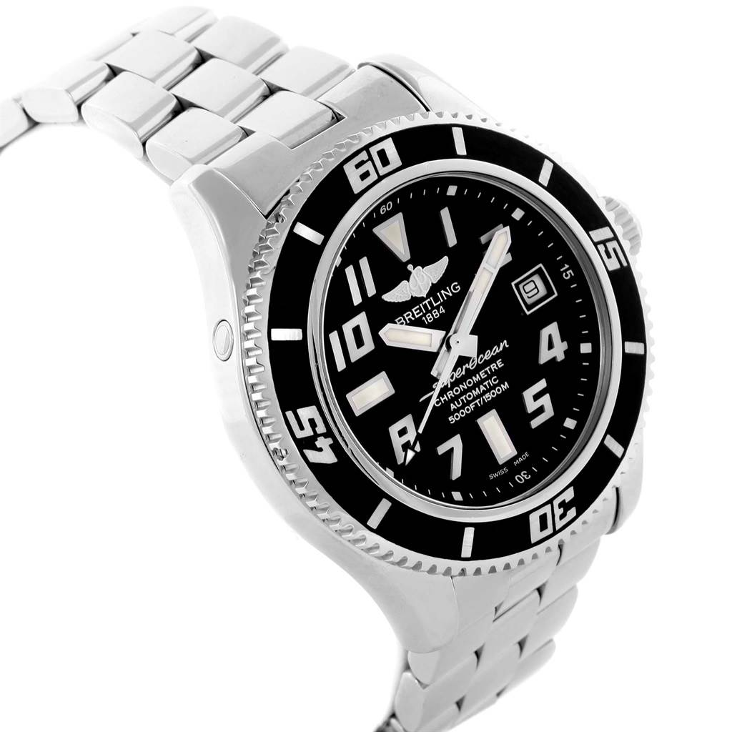 Breitling Superocean 42 Abyss Black Dial Steel Watch A17364 Papers SwissWatchExpo