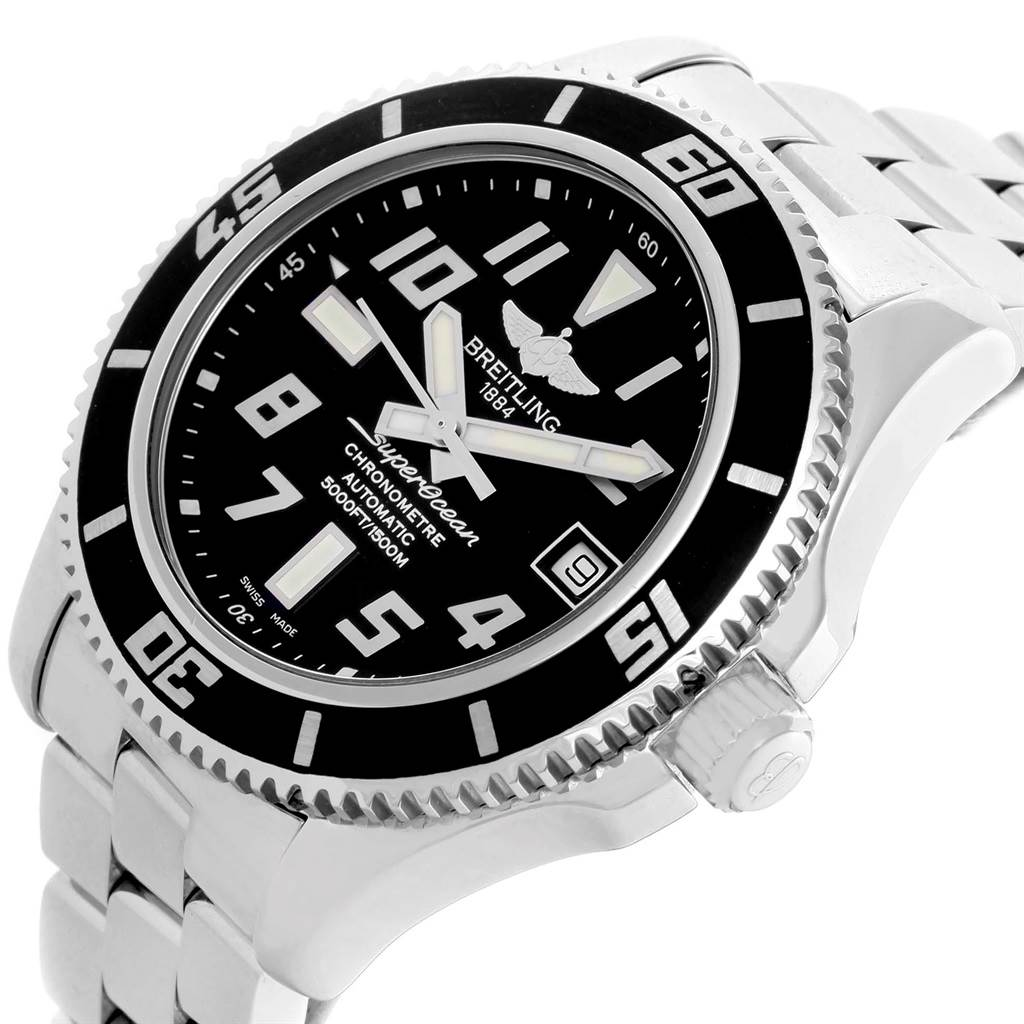14638 Breitling Superocean 42 Abyss Black Dial Steel Mens Watch A17364 SwissWatchExpo