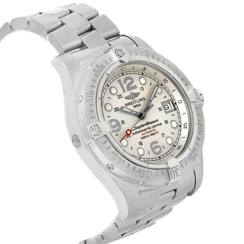 19433 Breitling Aeromarine Superocean Steelfish Silver Dial Mens Watch A17390 SwissWatchExpo