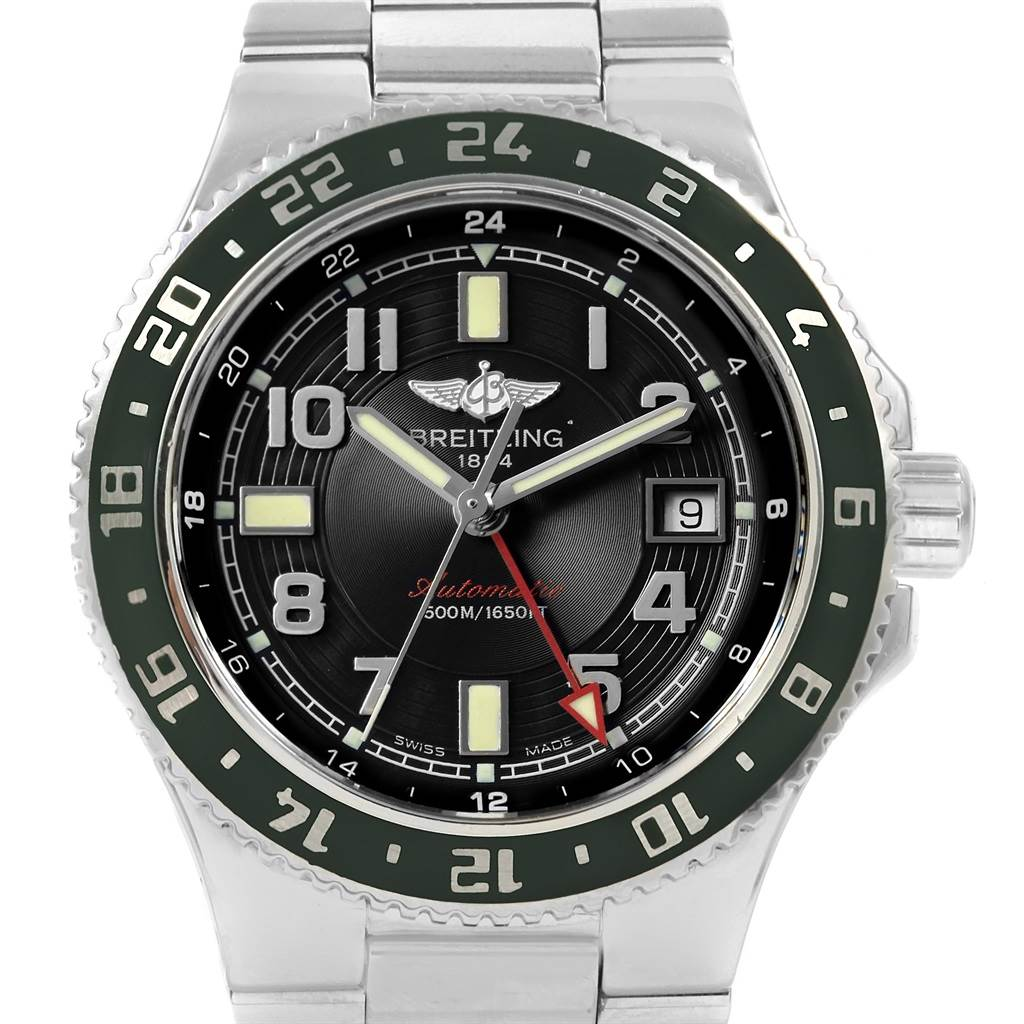 21076 Breitling Aeromarine Superocean GMT Black Dial Mens Watch A32380 SwissWatchExpo