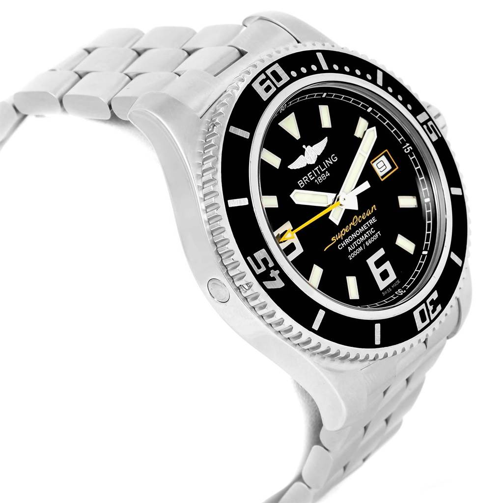 21315 Breitling Aeromarine Superocean 44mm Yellow Hand Watch A17391 Box Papers SwissWatchExpo