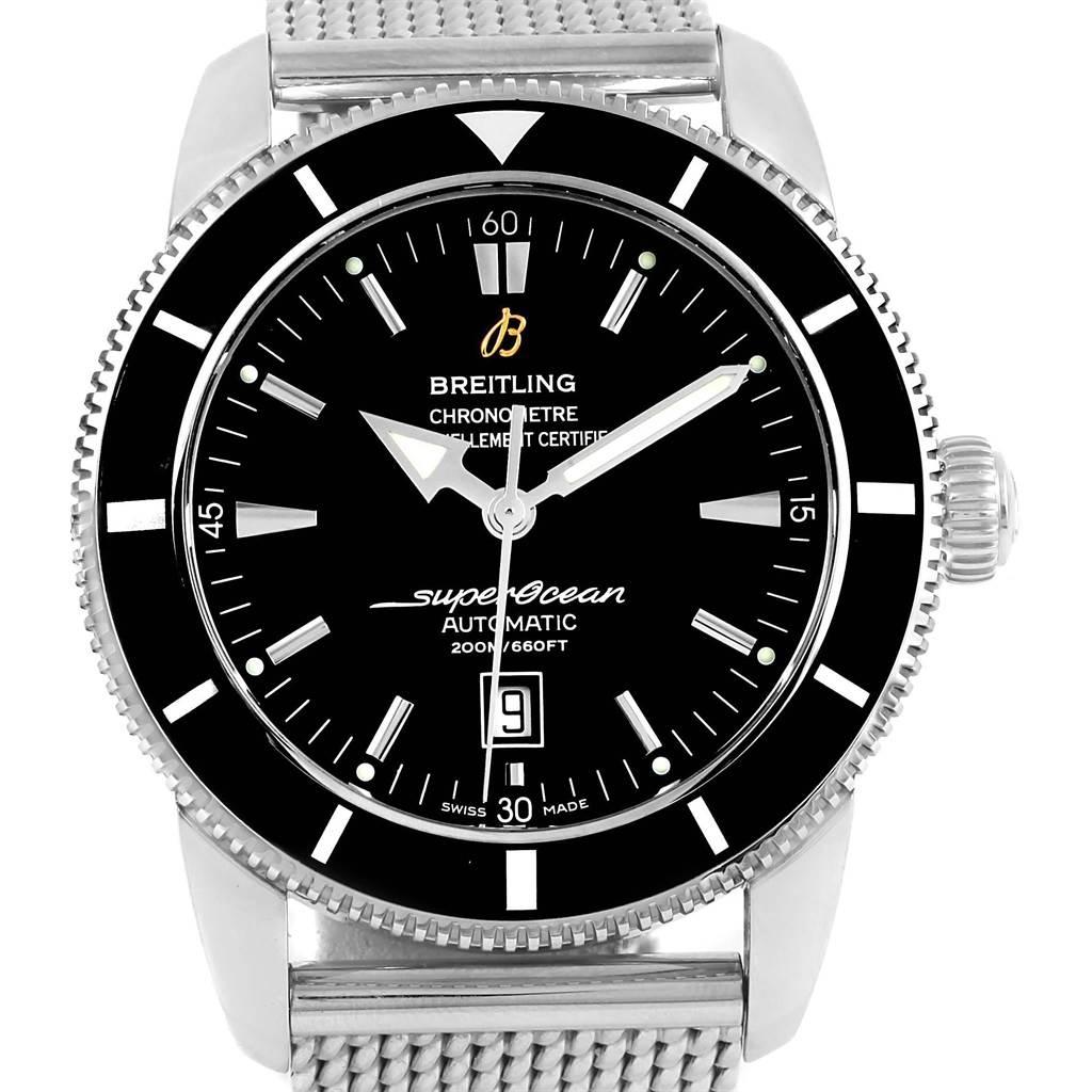 Breitling Superocean Heritage 46 Black Dial Mesh Bracelet Watch A17320 SwissWatchExpo