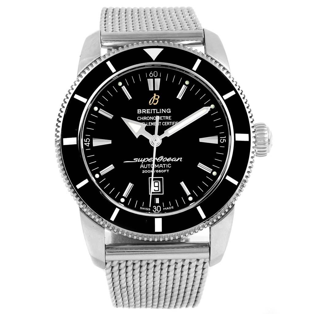 21318 Breitling Superocean Heritage 46 Black Dial Mesh Bracelet Watch A17320 SwissWatchExpo