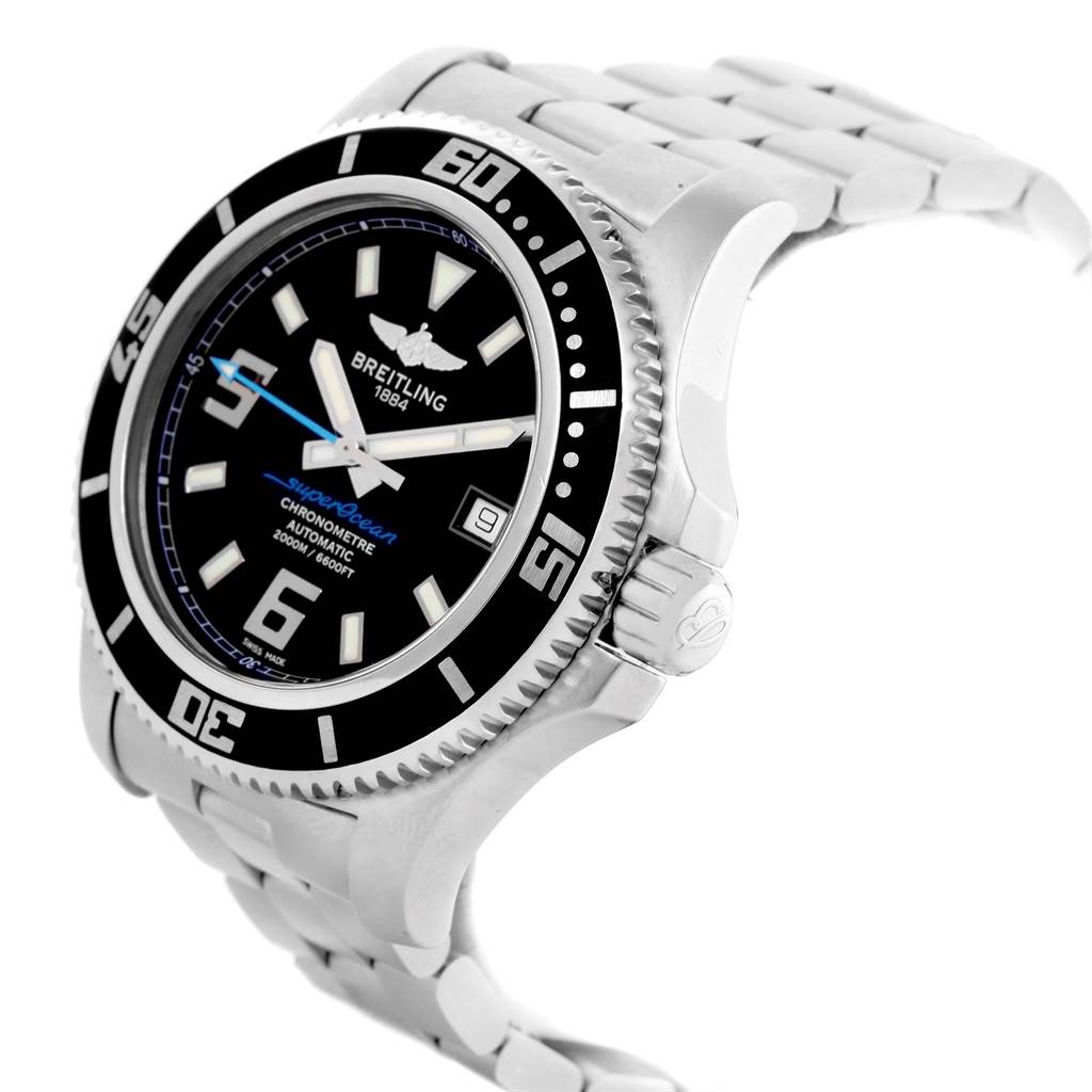 21381 Breitling Aeromarine Superocean 44 Blue Hand Watch A17391 Box Papers SwissWatchExpo