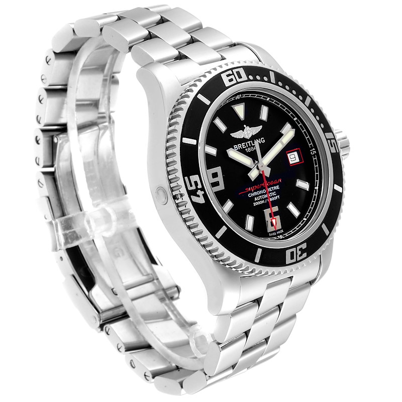 Breitling Superocean 44 Black Dial Red Hand Steel Mens Watch A17391 Box SwissWatchExpo