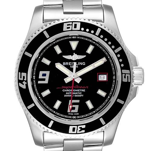 Photo of Breitling Superocean 44 Black Dial Red Hand Steel Mens Watch A17391 Box