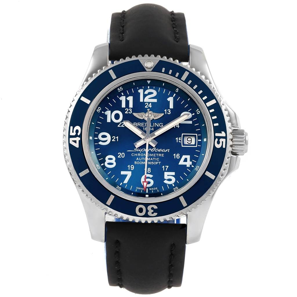 21376 Breitling Superocean II Blue Dial Steel Mens Watch A17365 Box Papers SwissWatchExpo