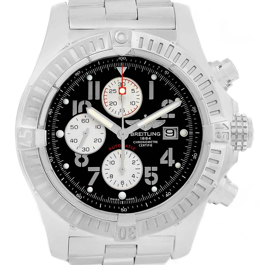 21357 Breitling Aeromarine Super Avenger Black Dial Watch A13370 Box Papers SwissWatchExpo