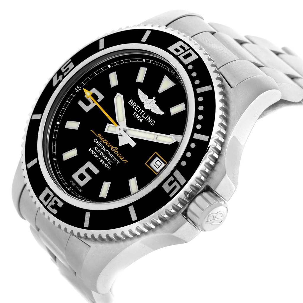 21299 Breitling Aeromarine Superocean 44 Yellow Hand Watch A17391 Box Papers SwissWatchExpo