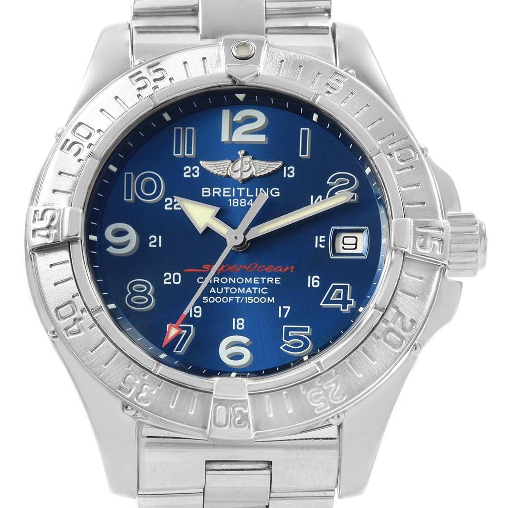 21391 Breitling Superocean Steelfish Blue Dial Mens Watch A17360 SwissWatchExpo