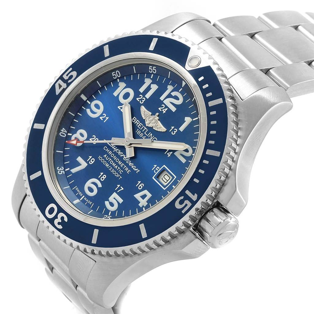 21331 Breitling Superocean II 44 Gun Blue Dial Mens Watch A17392 Box Card SwissWatchExpo