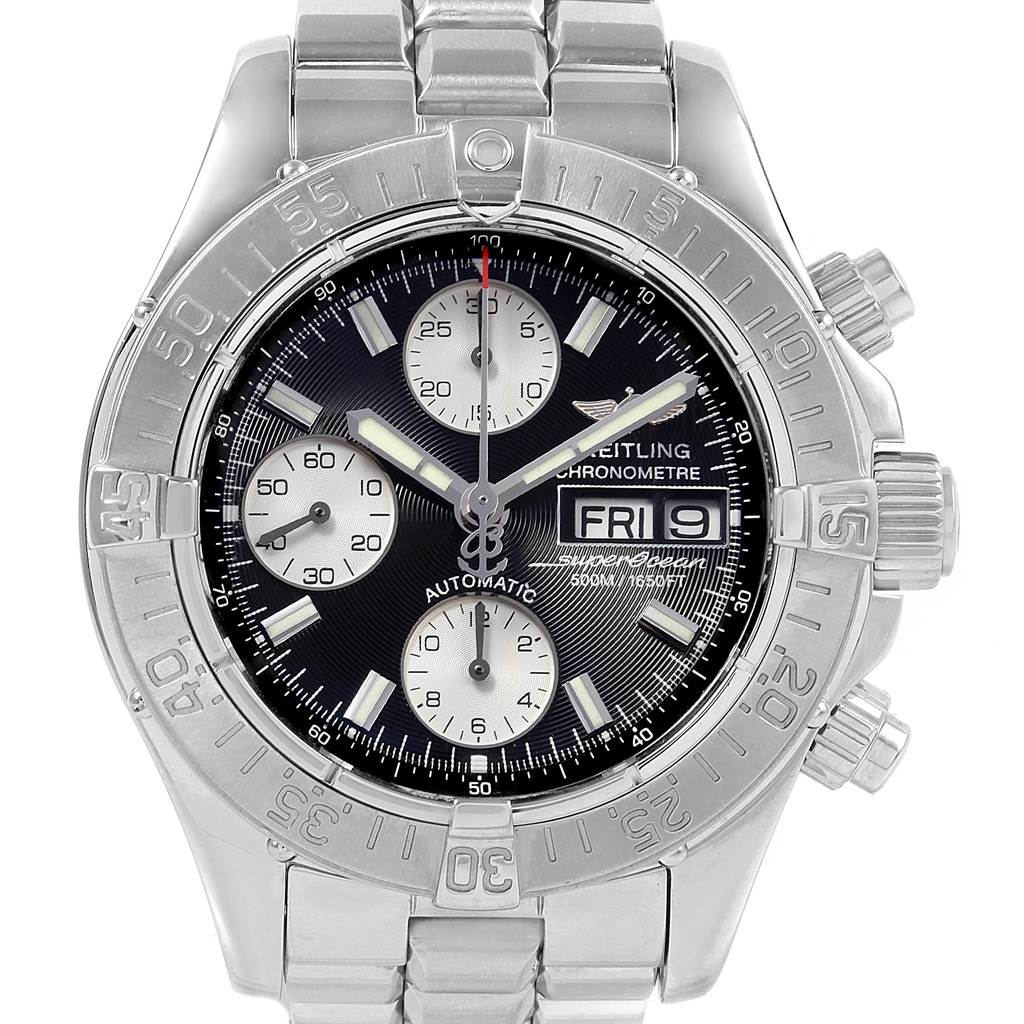 20932 Breitling Aeromarine Superocean Chronograph Steel Mens Watch A13340 Box SwissWatchExpo