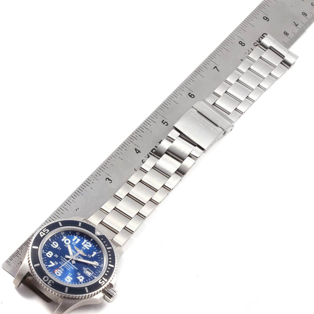 21529 Breitling Superocean II 44 Gun Blue Dial Steel Mens Watch A17392 SwissWatchExpo