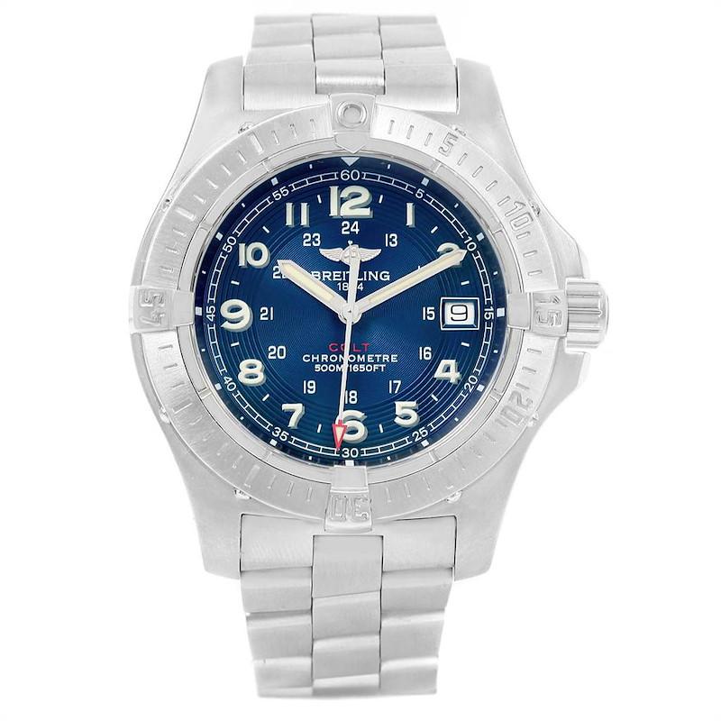 Breitling Colt Quartz Blue Dial Stainless Steel Mens Watch A74380 SwissWatchExpo