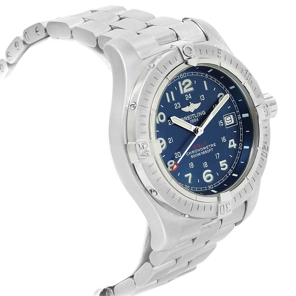 21400 Breitling Colt Quartz Blue Dial Stainless Steel Mens Watch A74380 SwissWatchExpo