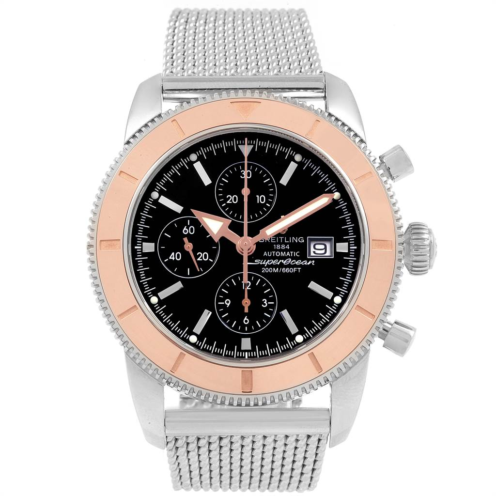 19853 Breitling SuperOcean Heritage Chrono 46 Steel Rose Gold Watch U13320 SwissWatchExpo