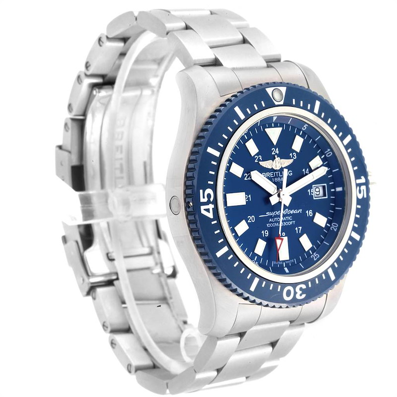 Breitling Aeromarine Superocean 44 Blue Dial Watch Y1739310 Box Papers SwissWatchExpo