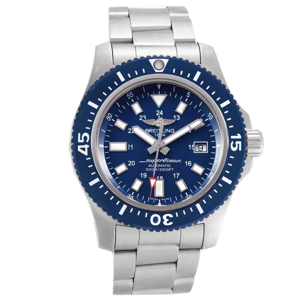 21978 Breitling Aeromarine Superocean 44 Blue Dial Watch Y1739310 Box Papers SwissWatchExpo
