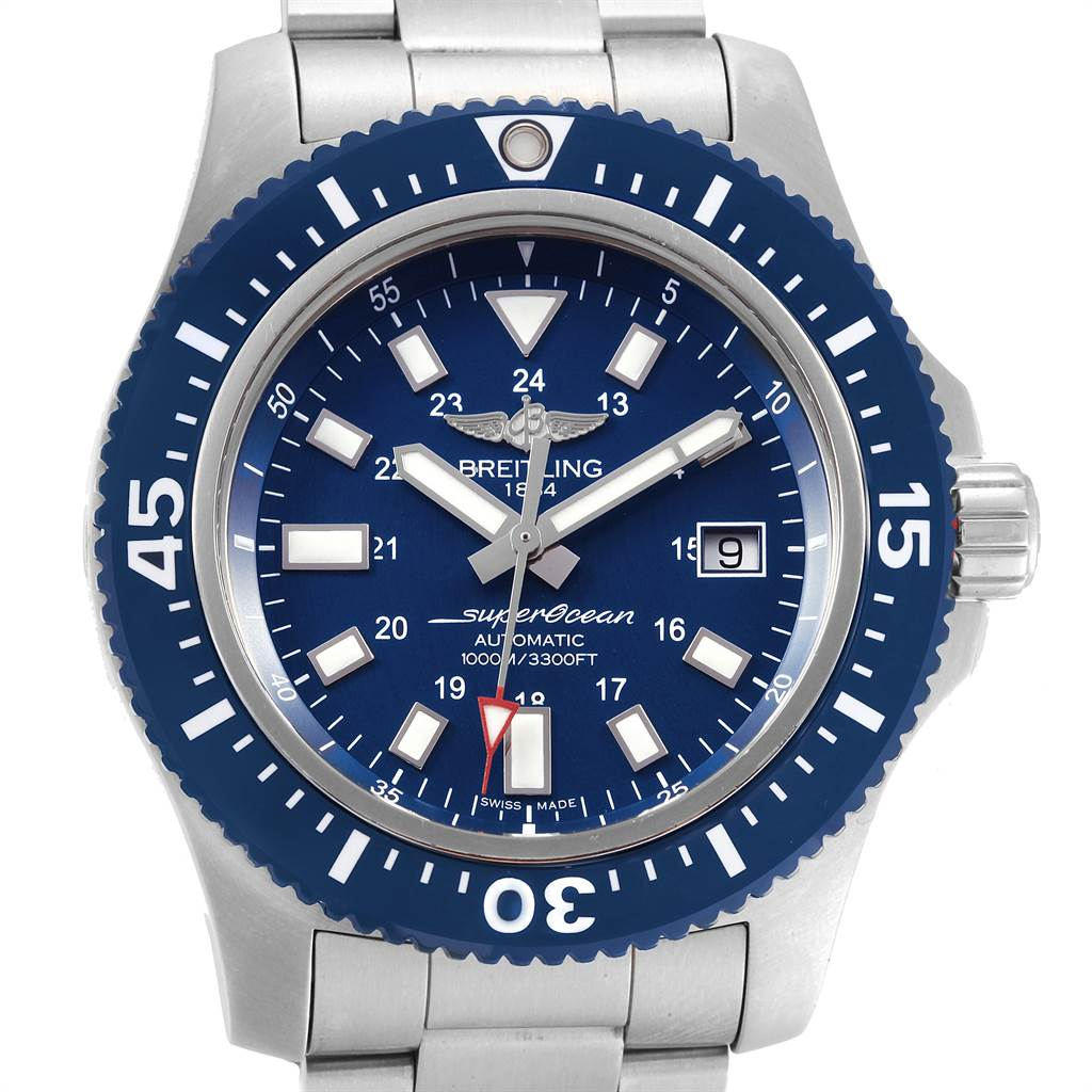 21978 Breitling Aeromarine Superocean 44 Blue Dial Watch Y1739310 Box Papers SwissWatchExpo