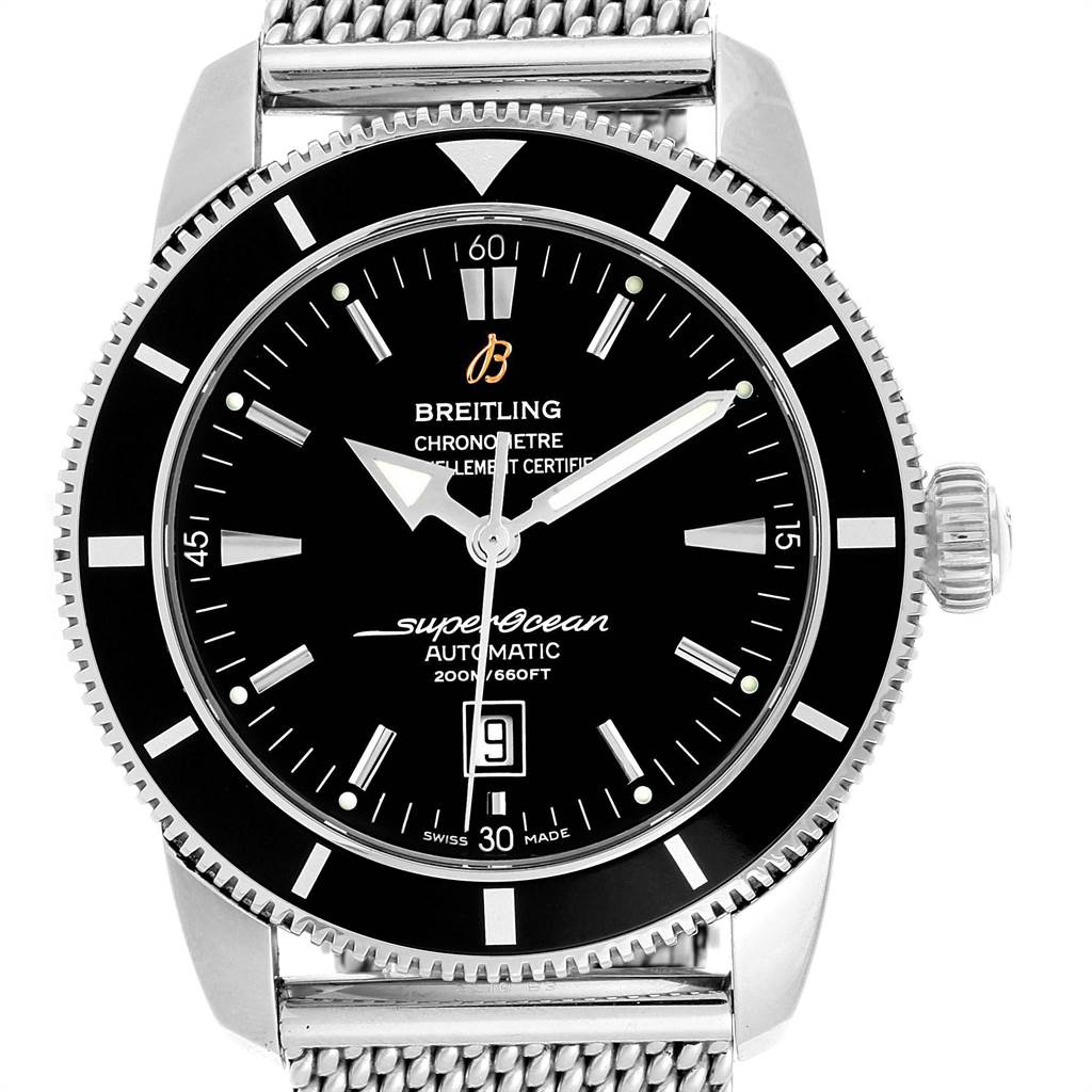 22023 Breitling Superocean Heritage 42 Black Dial Watch A17320 Box Papers SwissWatchExpo