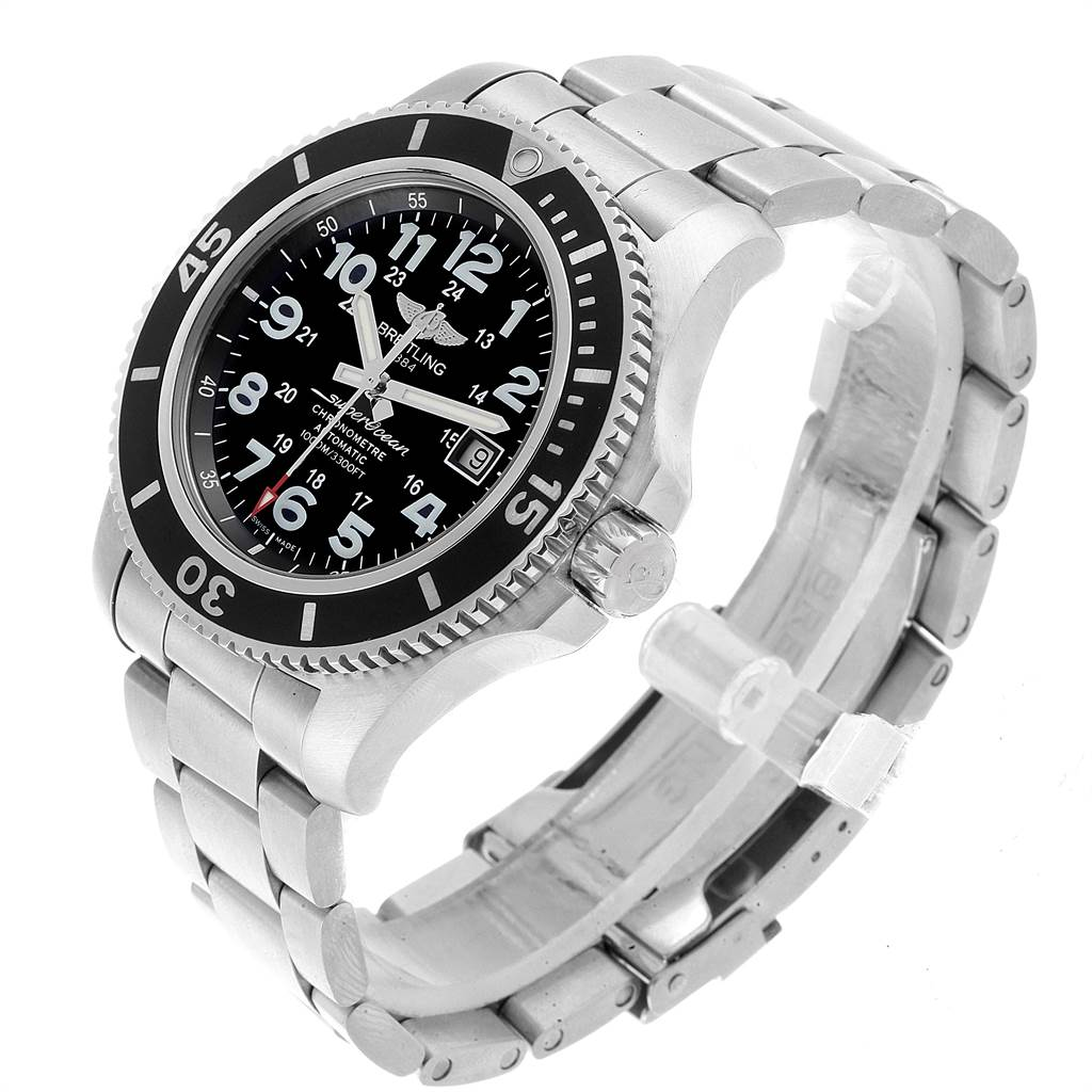 22027 Breitling Superocean II 44 Black Dial Mens Watch A17392 Box Papers SwissWatchExpo