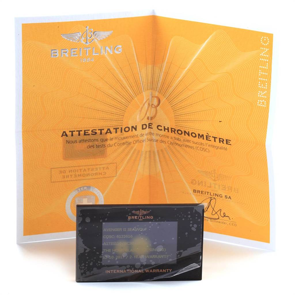 22074 Breitling Aeromarine Avenger II 45 Seawolf Mens Watch A17331 Box Card SwissWatchExpo