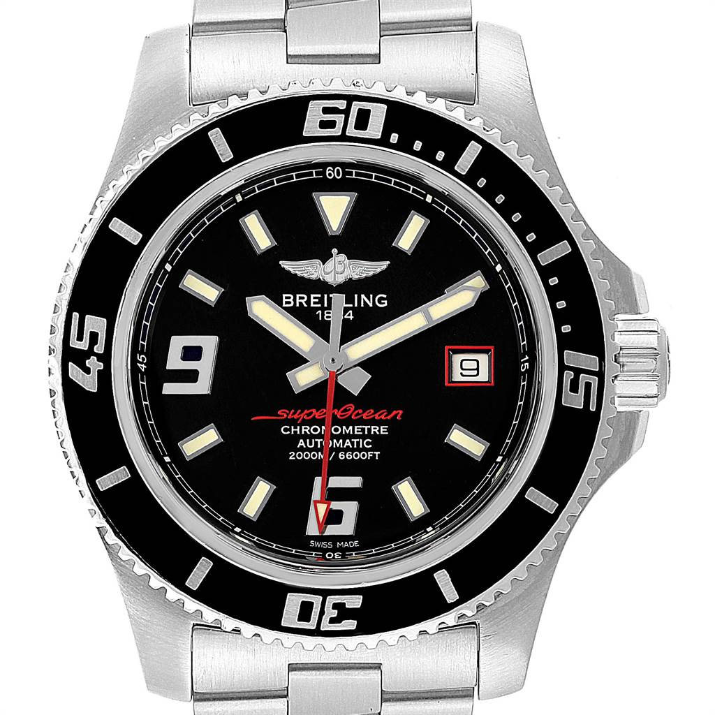 Breitling Aeromarine Superocean 44 Red Hand Mens Watch A17391 Box Papers SwissWatchExpo