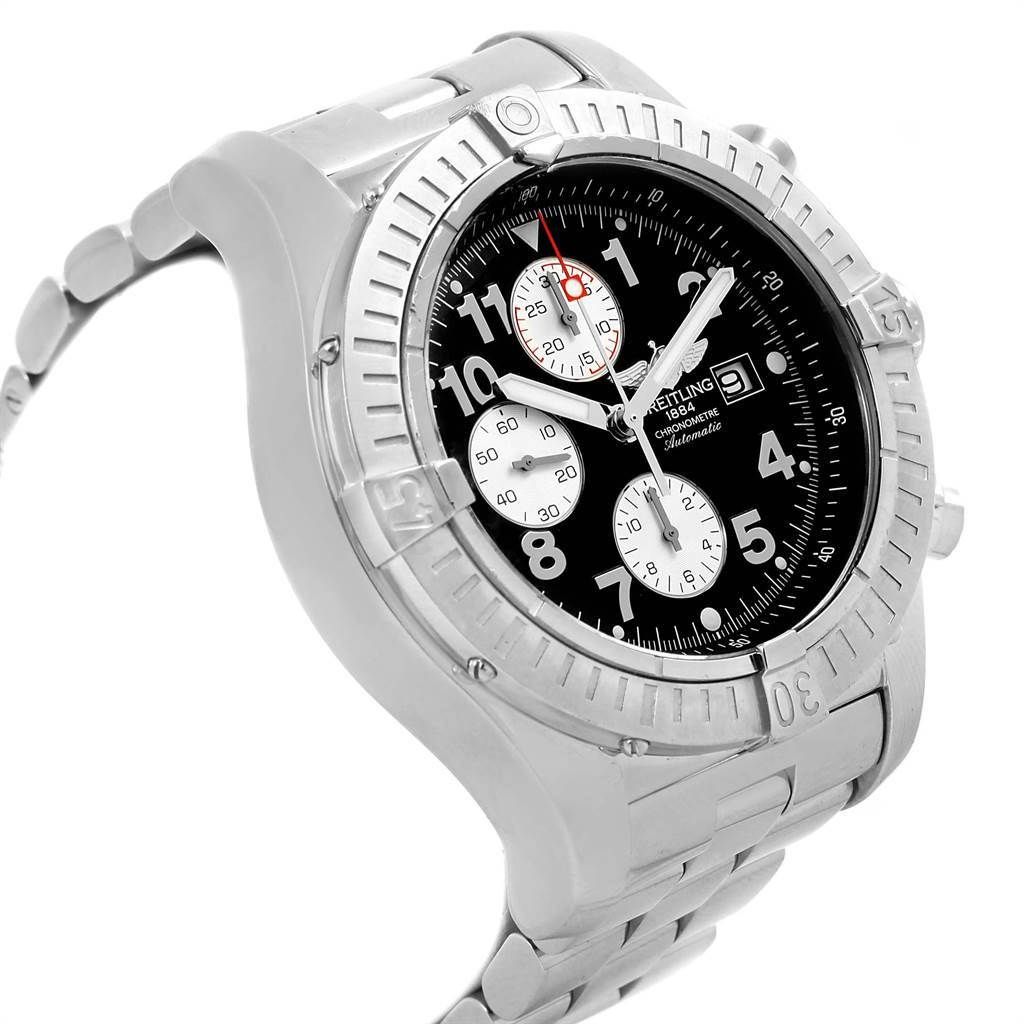 18745 Breitling Aeromarine Super Avenger Black Dial Mens Watch A13370 SwissWatchExpo