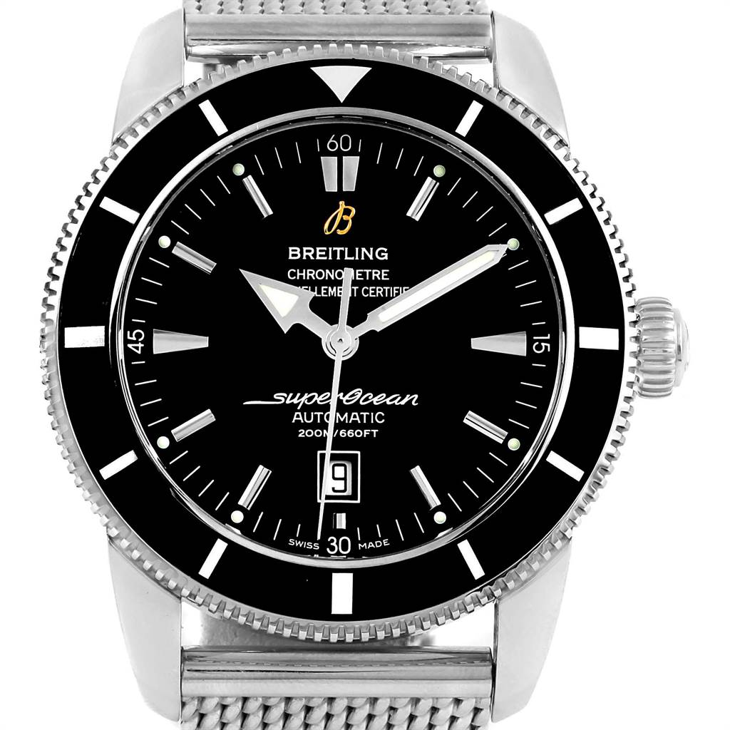 Breitling Superocean Heritage 46mm Black Dial Steel Mens Watch A17320 SwissWatchExpo
