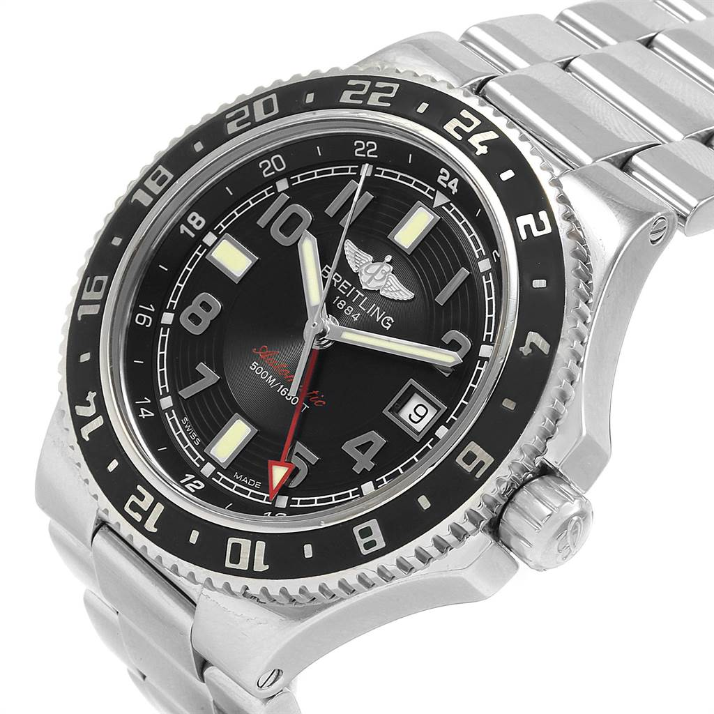 22089 Breitling Aeromarine Superocean GMT Black Dial Mens Watch A32380 SwissWatchExpo