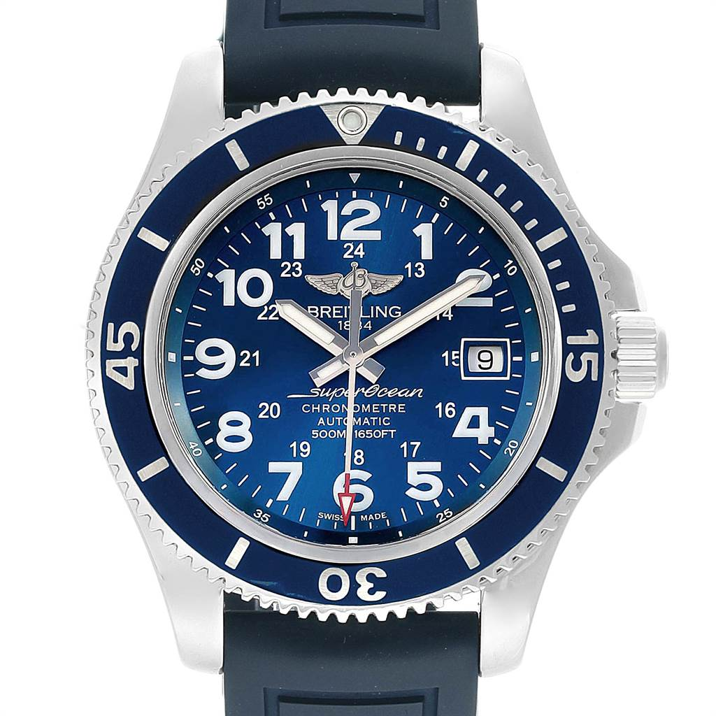 22093 Breitling Superocean II Blue Dial Steel Mens Watch A17365 Box Papers SwissWatchExpo
