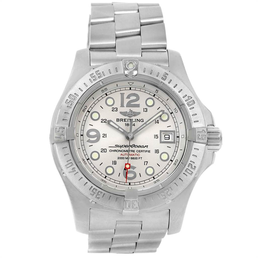 Breitling Aeromarine Superocean Steelfish Silver Dial Mens Watch A17390 SwissWatchExpo