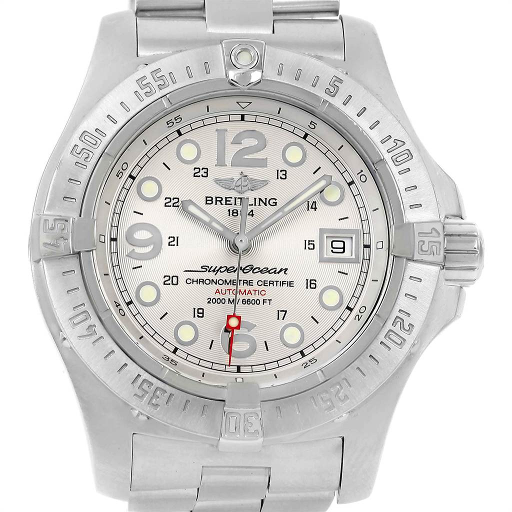 22098 Breitling Aeromarine Superocean Steelfish Silver Dial Mens Watch A17390 SwissWatchExpo