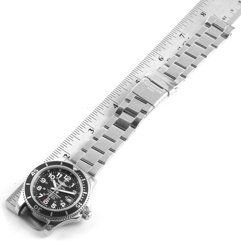 22097 Breitling Superocean II Black Dial Steel Mens Watch A17365 Box Papers SwissWatchExpo