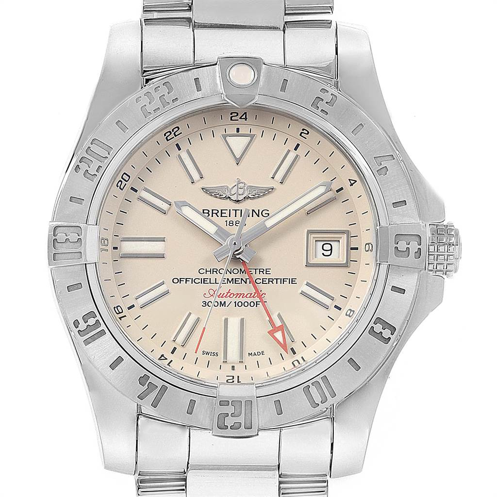 Breitling Aeromarine Avenger II GMT Steel Mens Watch A32390 Box Papers SwissWatchExpo