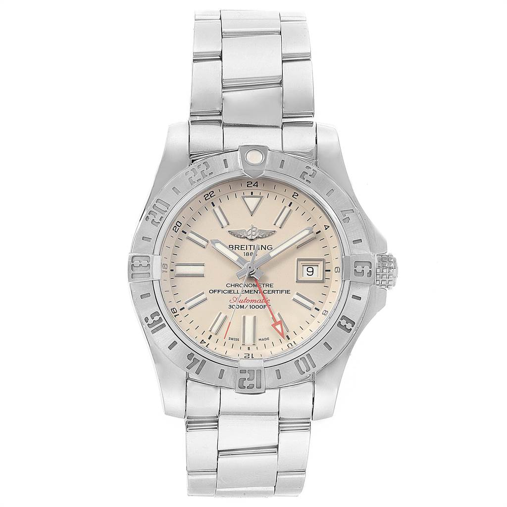 22094 Breitling Aeromarine Avenger II GMT Steel Mens Watch A32390 Box Papers SwissWatchExpo