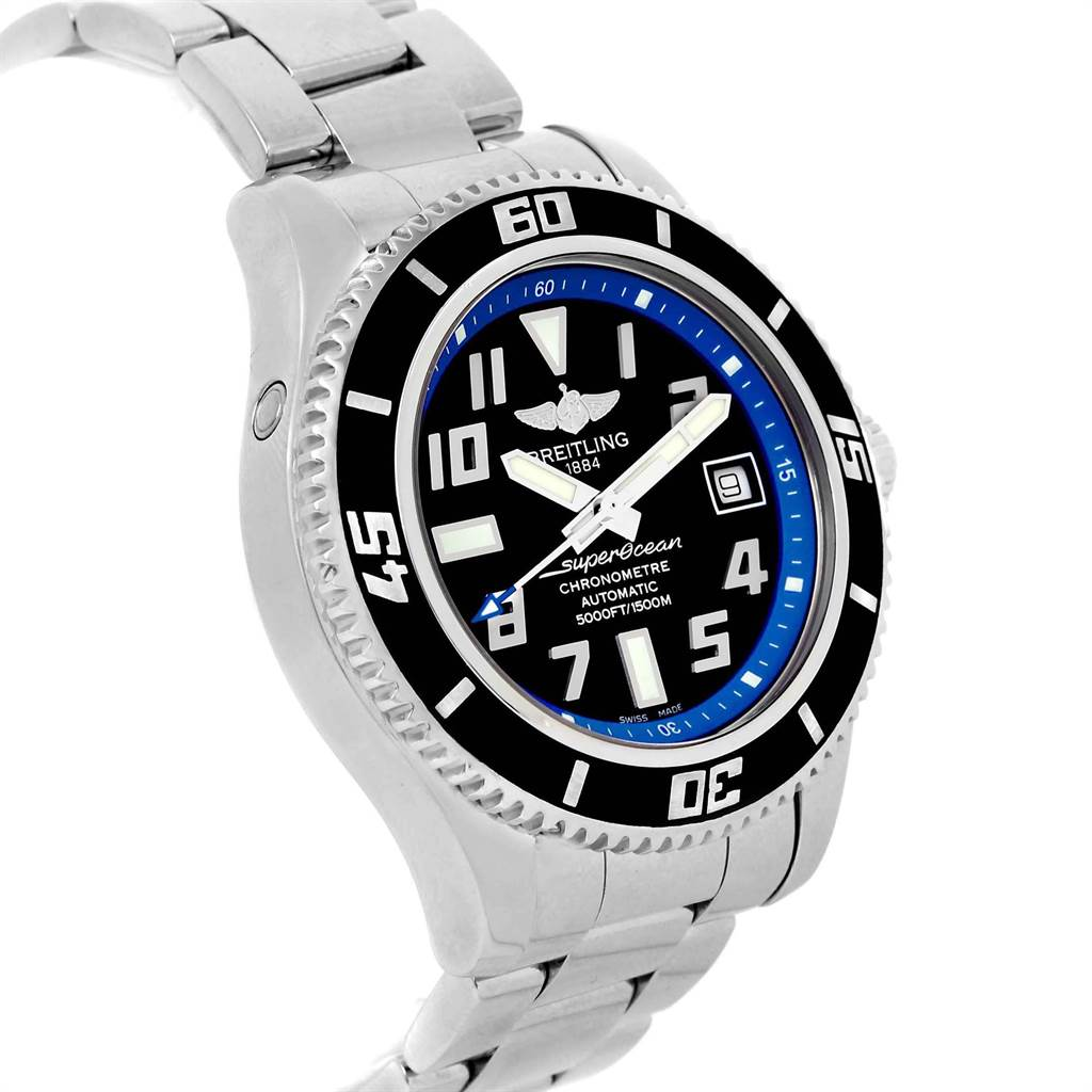 Breitling Superocean 42 Abyss Black Blue Dial Steel Mens Watch A17364 SwissWatchExpo